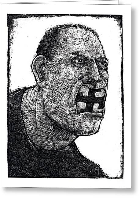 Racism Drawings Greeting Cards - Skinhead-2 Greeting Card by Chris Van Es