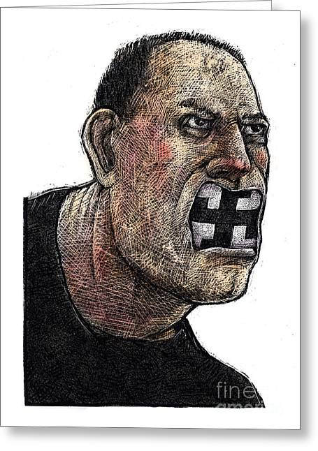 Racism Drawings Greeting Cards - Skinhead Greeting Card by Chris Van Es