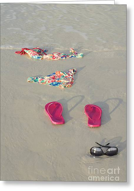 Scandalous Greeting Cards - Skinny Dipping Bikini on Beach Greeting Card by SAJE Photography