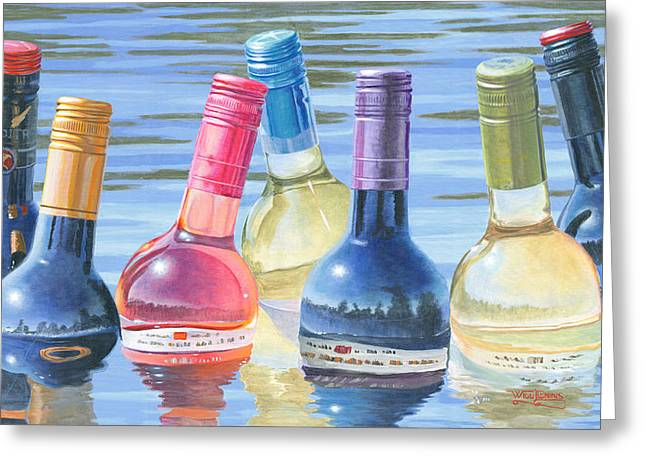 Wine Reflection Art Greeting Cards - Skinny Dipping Greeting Card by Will Enns