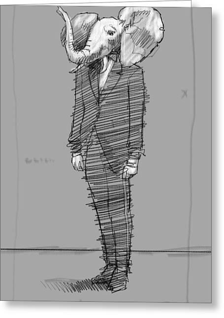 Skinny Suit Greeting Card by H James Hoff