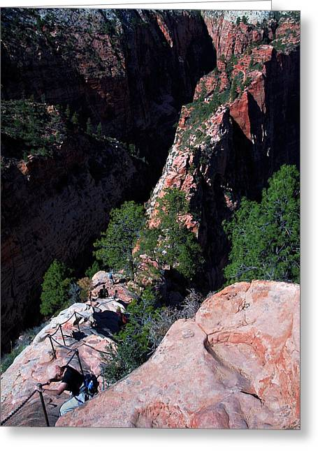 Rugged Terrain Greeting Cards - Skinny Trail at Zion Greeting Card by Bill Caldwell -        ABeautifulSky Photography