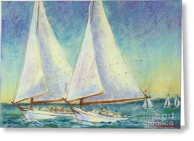 Etc. Pastels Greeting Cards - Skip Jack Races Greeting Card by Bruce Schrader