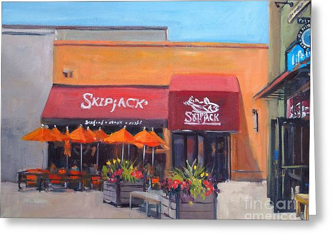 Foxboro Greeting Cards - Skipjacks Greeting Card by Deb Putnam