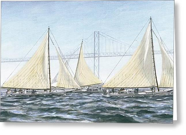 Recently Sold -  - Sailboat Art Greeting Cards - Skipjacks Racing Chesapeake Bay Maryland Greeting Card by G Linsenmayer