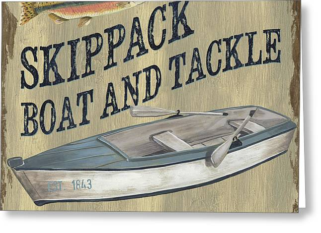 Hunting Cabin Greeting Cards - Skippack Boat and Tackle Greeting Card by Debbie DeWitt