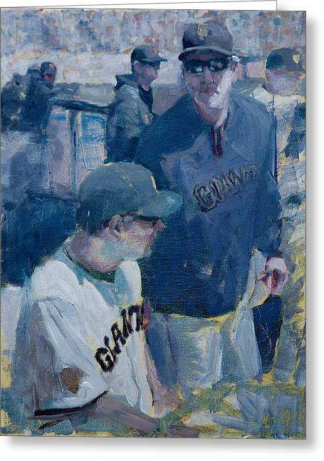 Baseball Paintings Greeting Cards - Skipper at the Helm Greeting Card by Darren Kerr