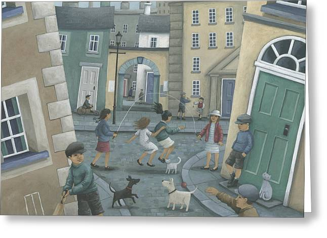 Kid Photographs Greeting Cards - Skipping By The Green Door Greeting Card by Peter Adderley