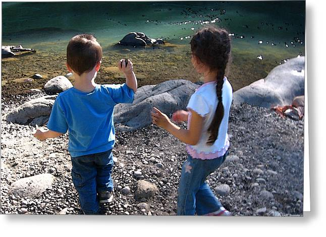 Throwing Stones Greeting Cards - Skipping Stones Greeting Card by Craig Bass