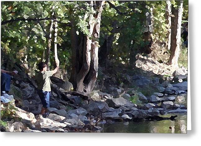 Skipping Stones Impressionist Fall Series #4  Greeting Card by Sharon McLain