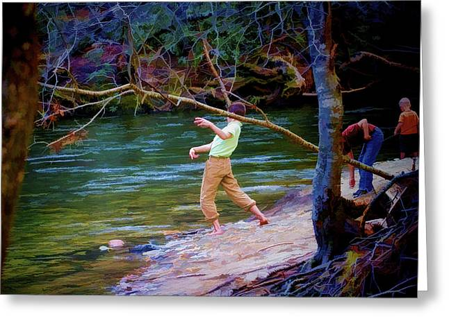 Throwing Stones Greeting Cards - SkippingStones Greeting Card by Dan Bennett