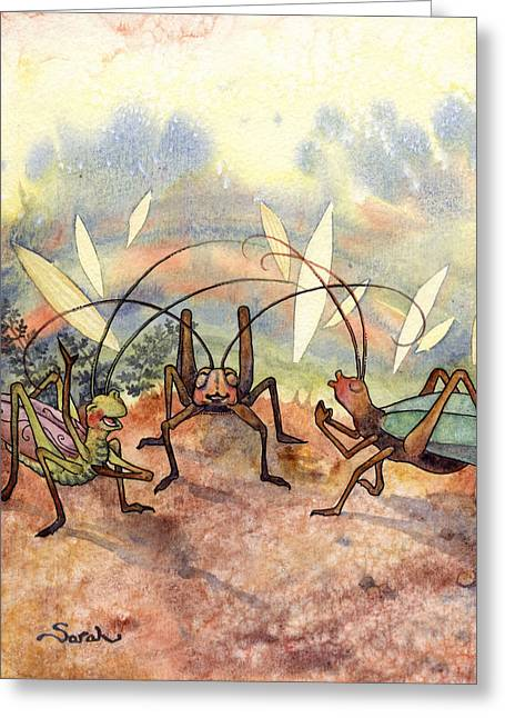Enterprise Paintings Greeting Cards - Skippit and friends rejoice Greeting Card by Sarah Kovin Snyder