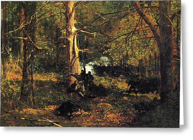 Winslow Homer Digital Art Greeting Cards - Skirmish in the Wilderness Greeting Card by Winslow Homer