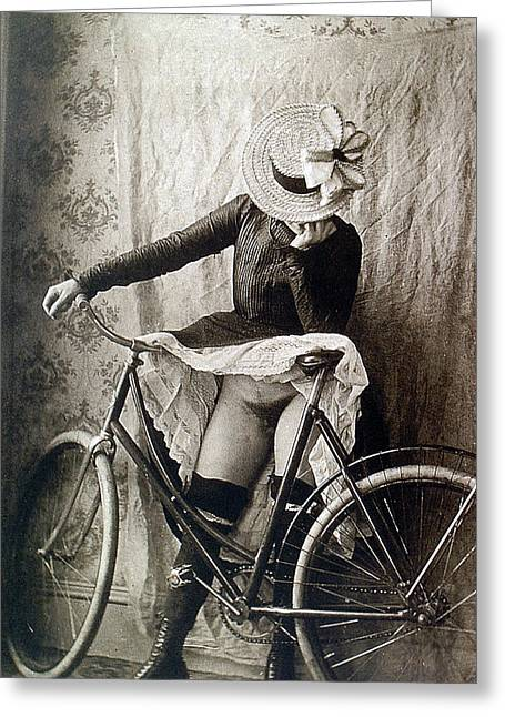 Frontal Nude Greeting Cards - Skirt UP Bicycle Rider Greeting Card by Unknown
