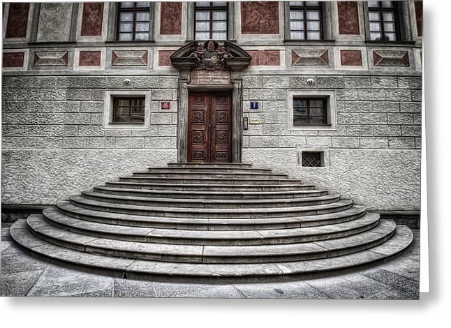Prague Castle Greeting Cards - Skirted Door Greeting Card by Joan Carroll