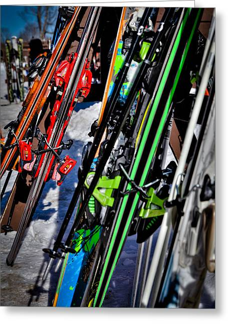 Chairlift Greeting Cards - Skis at McCauley Mountain Greeting Card by David Patterson
