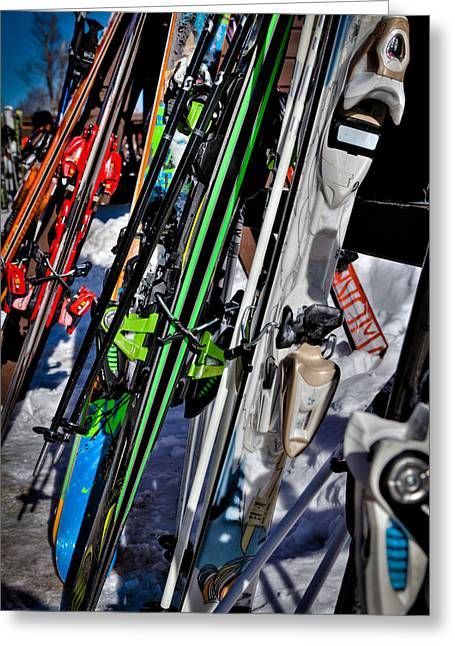 Chairlift Greeting Cards - Skis at McCauley Mountain II Greeting Card by David Patterson