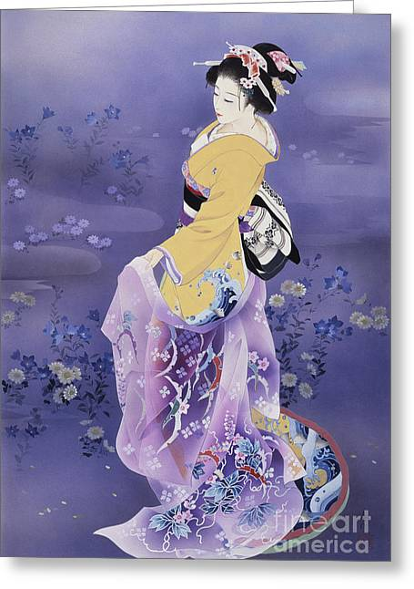Face Paint Greeting Cards - Skiyu Purple Robe Greeting Card by Haruyo Morita
