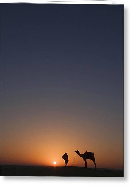 Sanddunes Greeting Cards - SKN 0883 Sunrise in Solitude Greeting Card by Sunil Kapadia