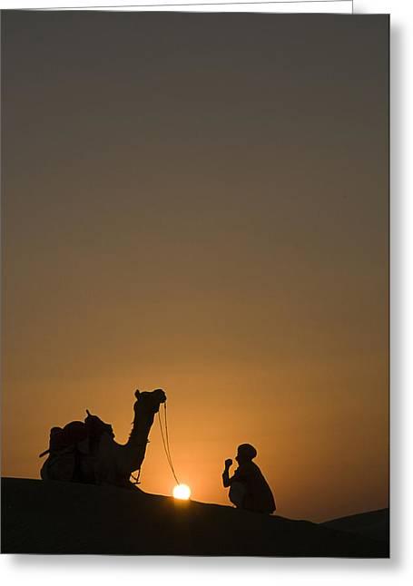 Sanddunes Greeting Cards - SKN 1493 Sunset Rest Greeting Card by Sunil Kapadia