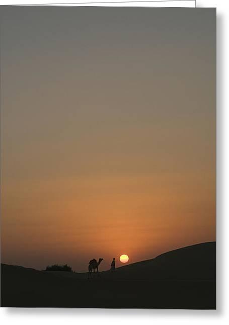 Sanddunes Greeting Cards - SKN 1499 Goodnight Sun Greeting Card by Sunil Kapadia