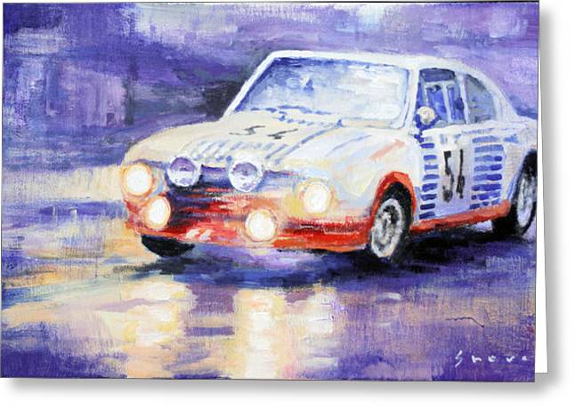 1977 Greeting Cards - Skoda 130 RS Rally Monte Carlo 1977 Greeting Card by Yuriy Shevchuk