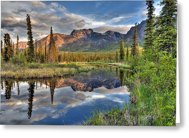 Hdr Landscape Greeting Cards - Skookum Volcano Reflecting In A Pond Greeting Card by Lucas Payne