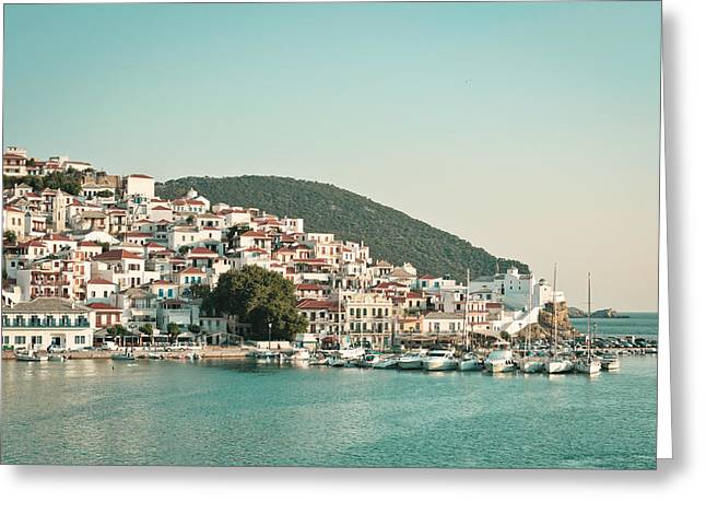 July Greeting Cards - Skopelos Harbour Greeting Card by Tom Gowanlock