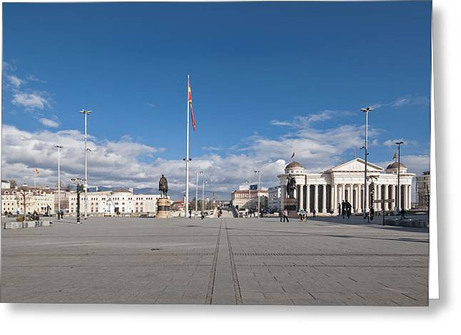 City Buildings Greeting Cards - Skopje - City square Greeting Card by Ivan Vukelic