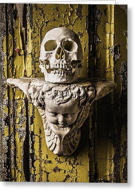 Opposite Greeting Cards - Skull And Angel Greeting Card by Garry Gay