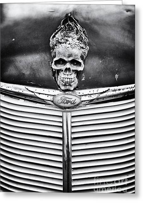 Ford Hotrod Greeting Cards - Skull and Bones Greeting Card by Tim Gainey