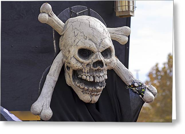 Pirate Ship Greeting Cards - Skull and Crossbones Greeting Card by Kenneth Albin