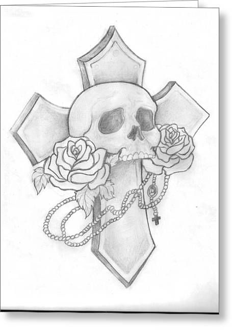 Rosary Drawings Greeting Cards - Skull and Cross Tattoo Greeting Card by Leah Thornton
