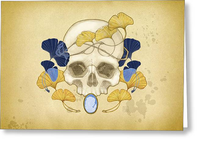 Human Skull Greeting Cards - Skull and Ginkgo Greeting Card by Catherine Noel