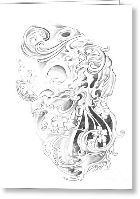 Tattoo Flash Drawings Greeting Cards - Skull and Water  Greeting Card by Cailyn Cave