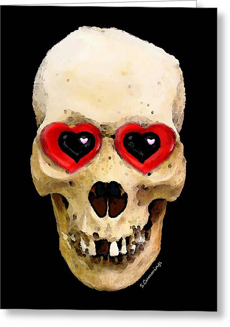 Skull Digital Art Greeting Cards - Skull Art - Day Of The Dead 2 Greeting Card by Sharon Cummings