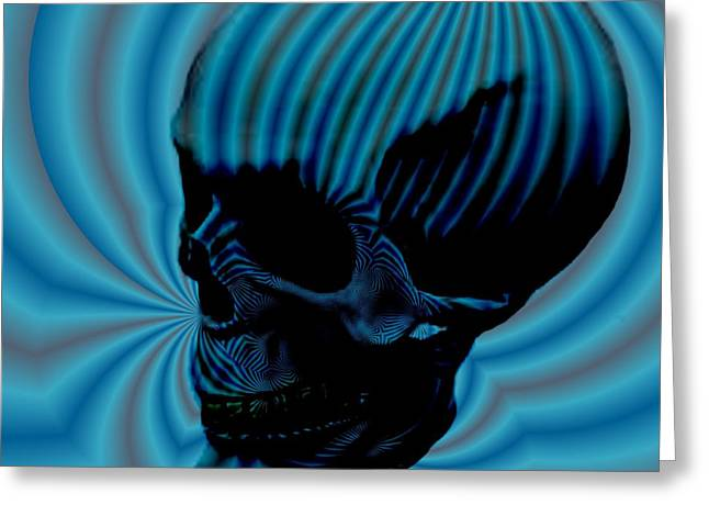 Sea Moon Full Moon Greeting Cards - Skull Aura Blue Greeting Card by Jason Saunders