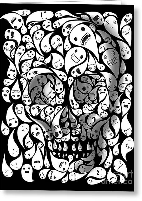 Del Muerto Greeting Cards - Skull Doodle Greeting Card by Sassan Filsoof