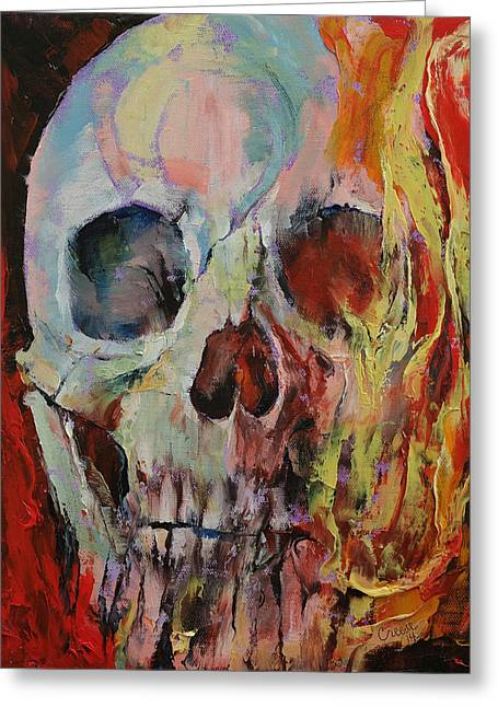 T Shirts Greeting Cards - Skull Fire Greeting Card by Michael Creese