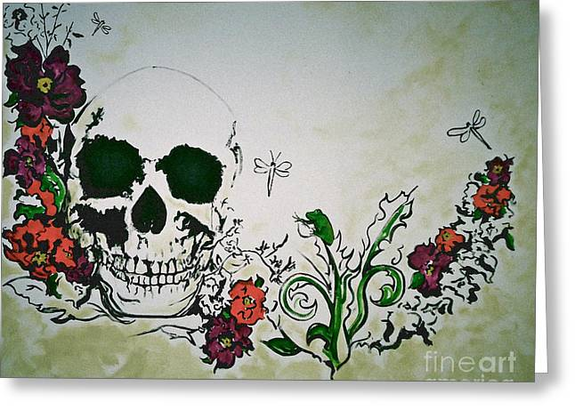 Tattoo Flash Greeting Cards - Skull Flower Mural Greeting Card by Pete Maier