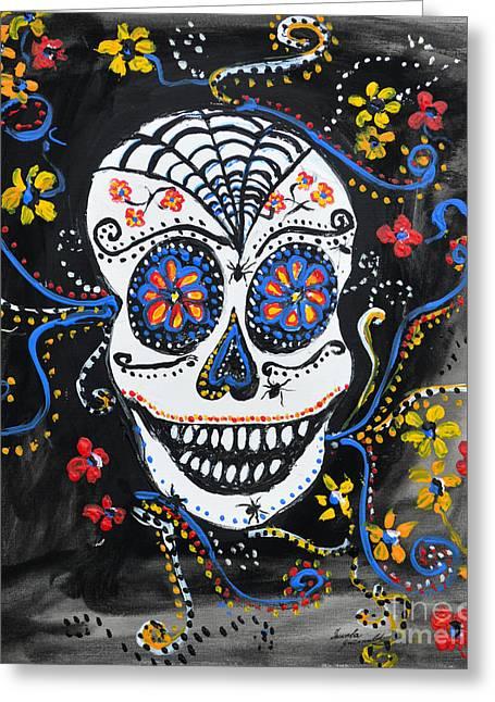 Ismeta Greeting Cards - Skull Flowers Greeting Card by Ismeta Gruenwald