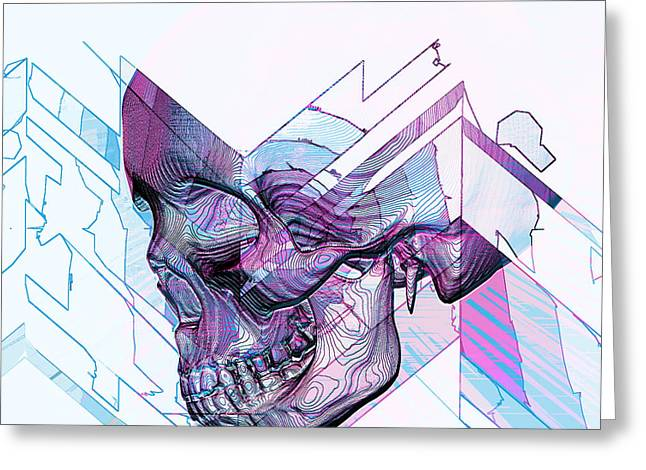 Blue Abstracts Tapestries - Textiles Greeting Cards - Skull Glitch Greeting Card by Marcus Mattern