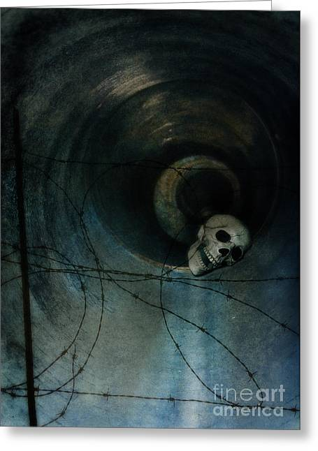 Missing Teeth Greeting Cards - Skull in Drainpipe Greeting Card by Jill Battaglia