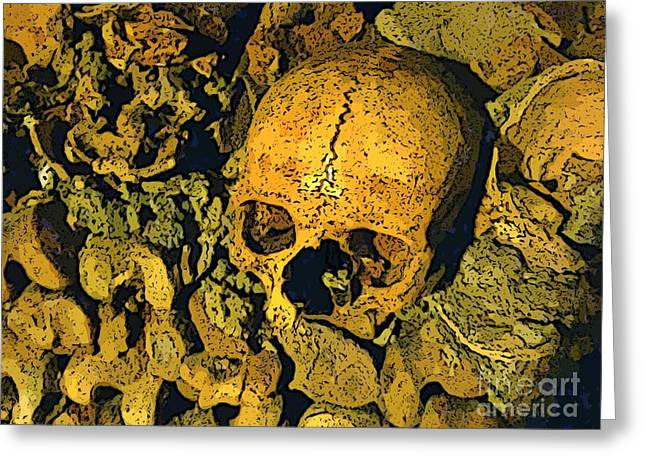 Cemeteries Of Paris Greeting Cards - Skull in Paris Catacombs Greeting Card by John Malone