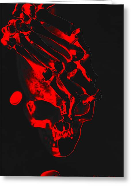 Eerie Greeting Cards - Skull in Red Greeting Card by Kim Webert