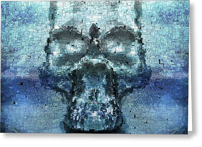 Crossbones Greeting Cards - Skull in the mirror Greeting Card by Toppart Sweden