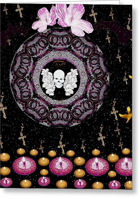 Burning Mixed Media Greeting Cards - Skull Night In Peace Greeting Card by Pepita Selles