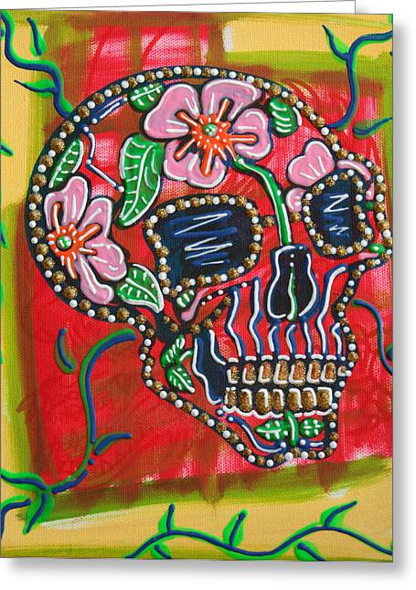 Western Culture Greeting Cards - Skull of Flowers Greeting Card by Laura Barbosa
