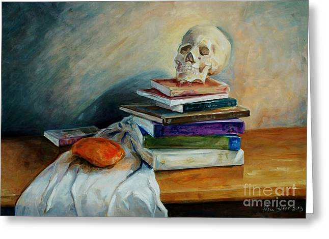 Mango Paintings Greeting Cards - Skull and Mango Still-life Greeting Card by Aliaa Bishr