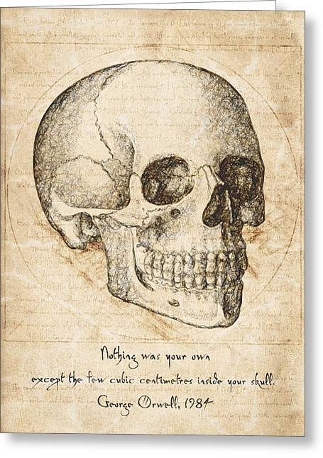 Political Drawings Greeting Cards - Skull Quote by George Orwell Greeting Card by Taylan Soyturk